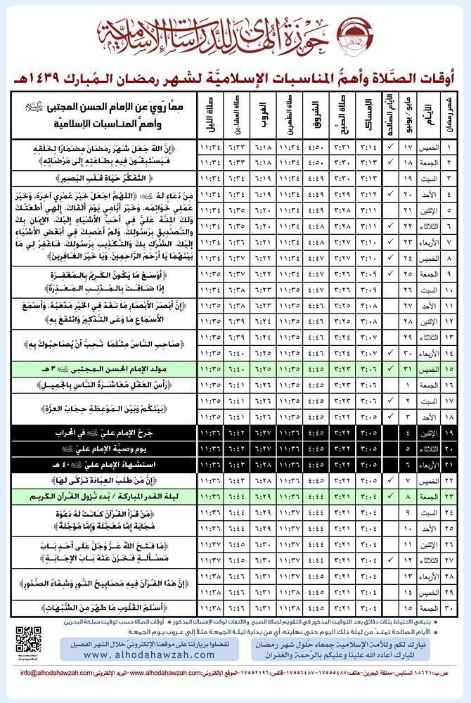 إمساكيات شهر رمضان في البحرين