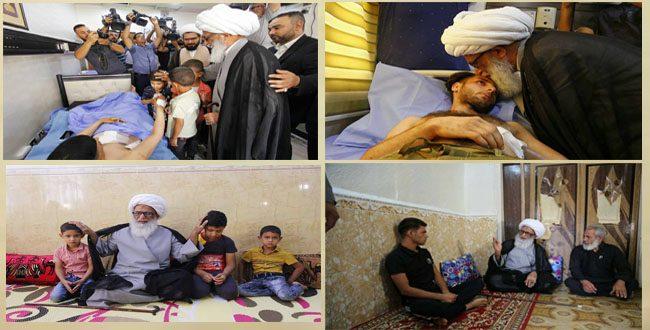 بشير النجفي زيارة عوائل الشهداء