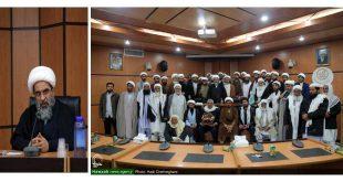 آية الله فاضل اللنكراني يستقبل علماء من الشيعة وأهل السنة لمحافظة سيستان وبلوشستان بقم المقدسة