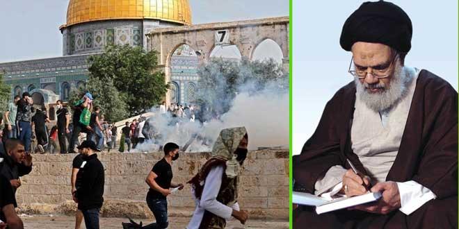 مكتب آية الله الحائري: ثورة الشعب الفلسطيني اليوم هي ثورة الإسلام كله أمام الكفر والنفاق