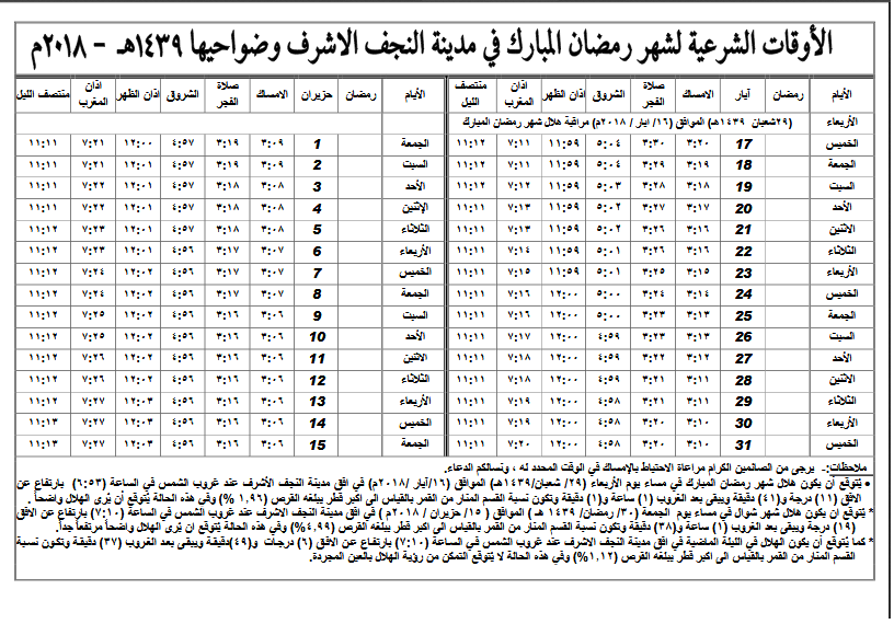 إمساكيات شهر رمضان المبارك لعام 1439 هـ (2018 م) + النجف الاشرف