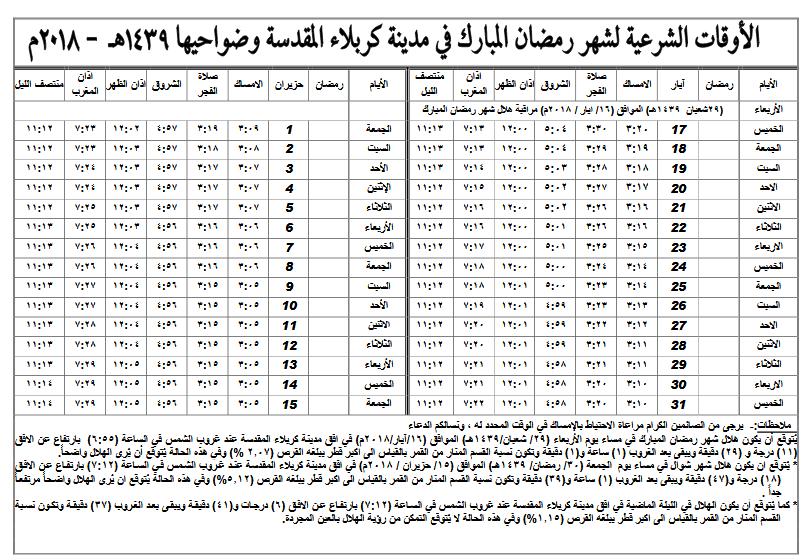 إمساكيات شهر رمضان المبارك لعام 1439 هـ (2018 م) + كربلاء المقدسة