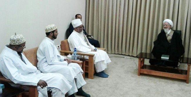 لقاء بين المرجع الديني آية الله جوادي الآملي والداعي المطلق للبهرة في الهند مولانا حاتم زكي الدين
